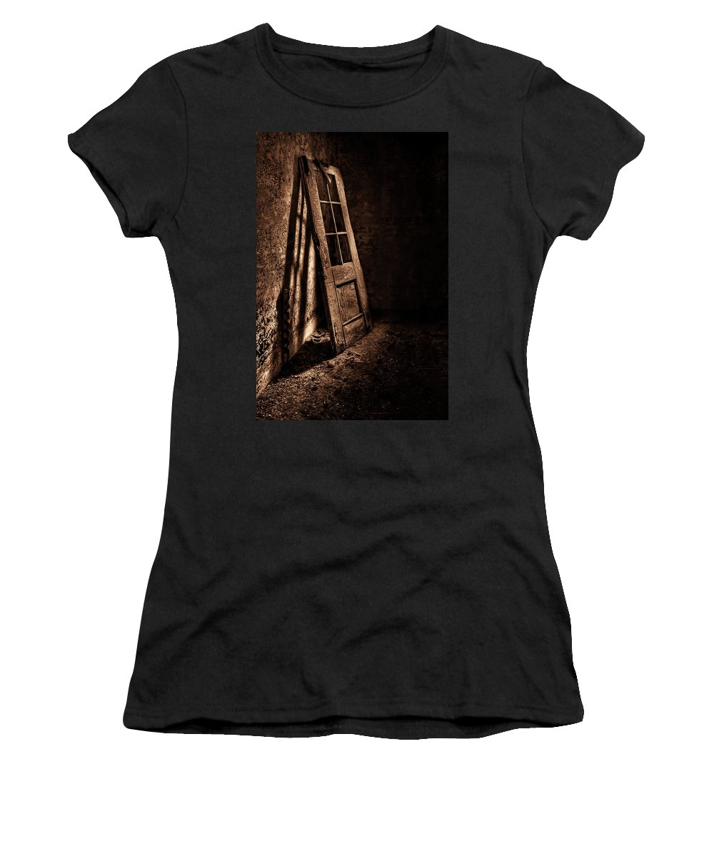 Door Women's T-Shirt (Athletic Fit) featuring the photograph Knockin' At The Wrong Door by Evelina Kremsdorf