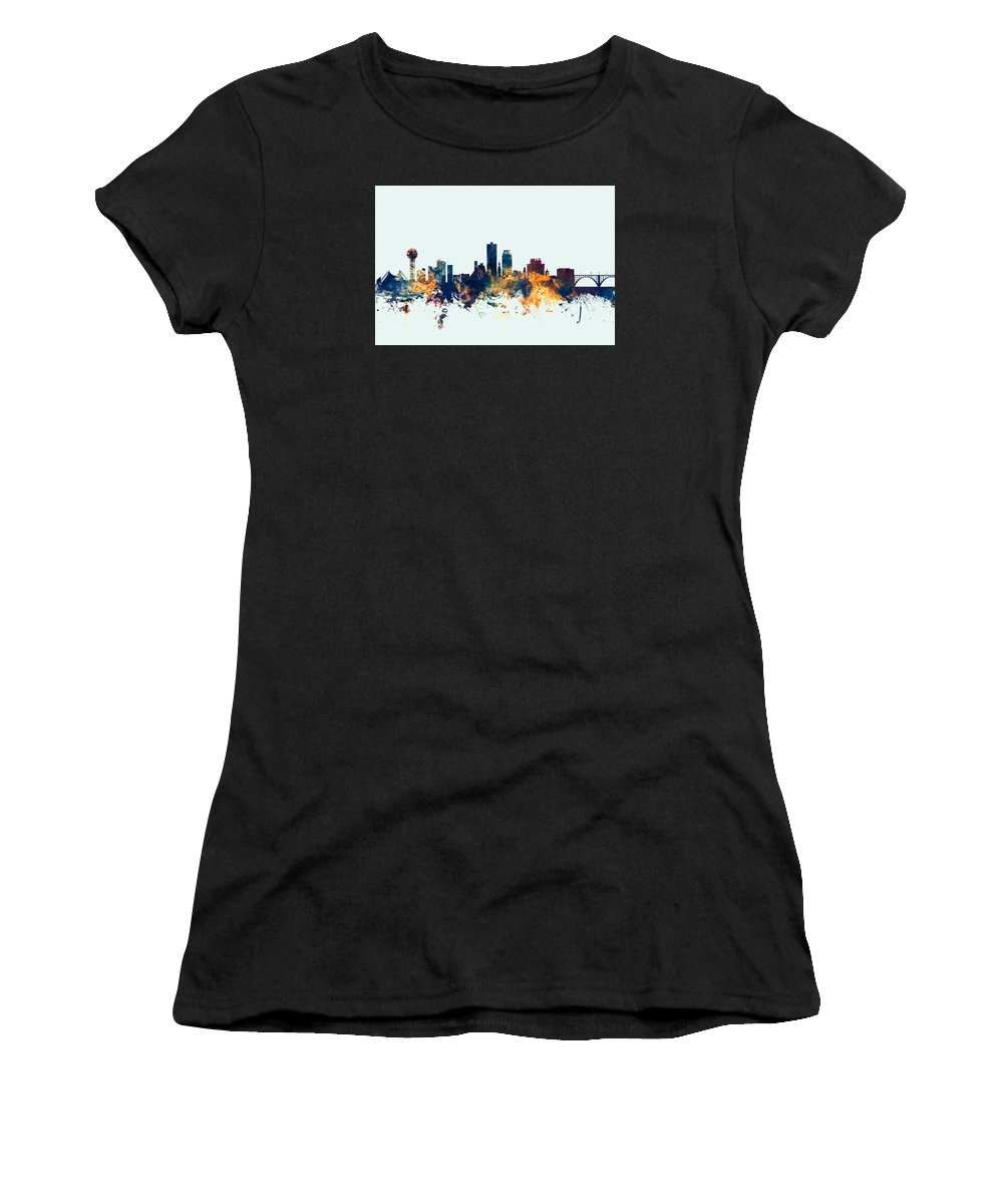 United States Women's T-Shirt (Athletic Fit) featuring the digital art Knoxville Tennessee Skyline by Michael Tompsett