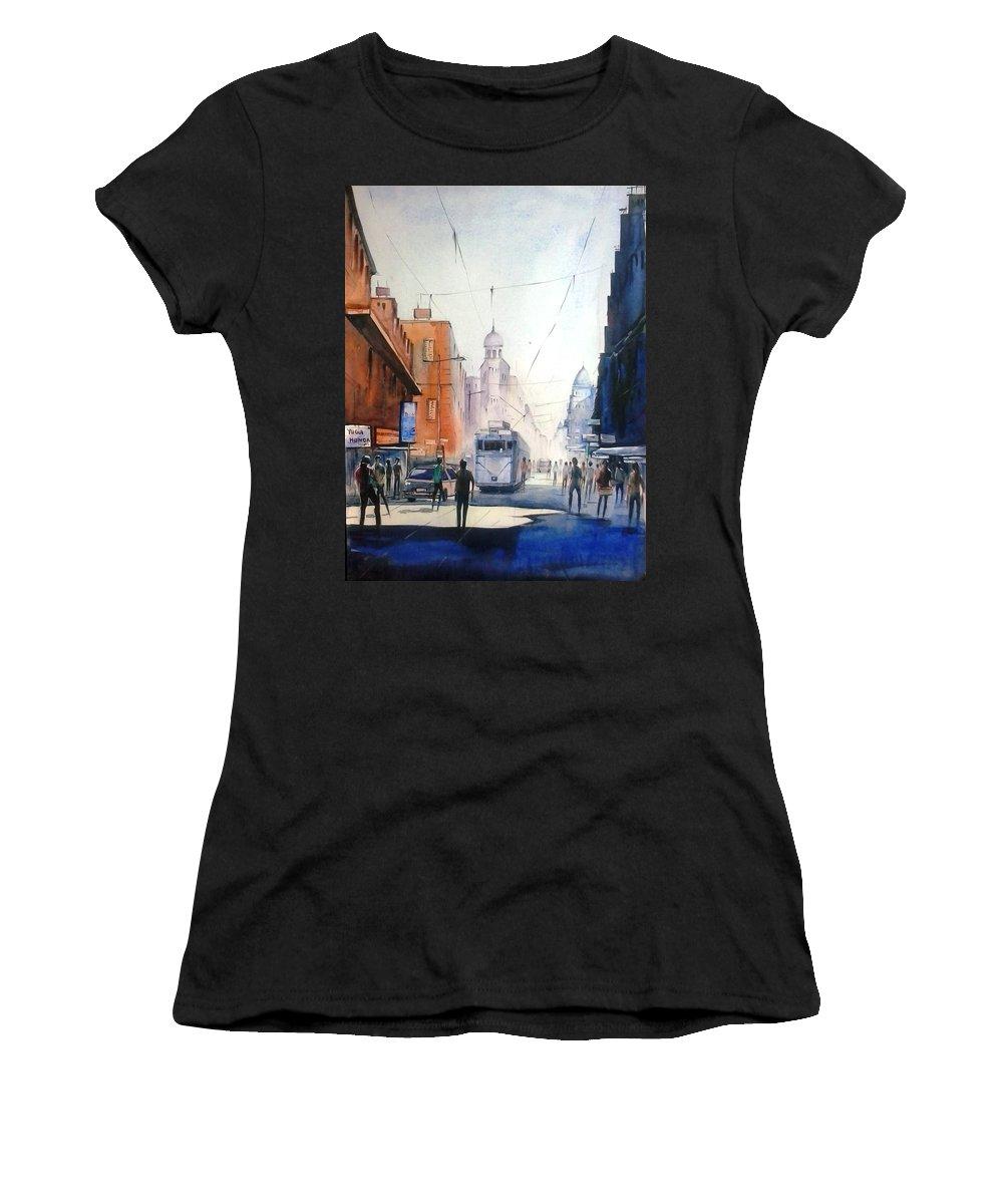 Kolkata City With Tram Women's T-Shirt featuring the painting Kolkata City With Tram by Sooneel Chauhan