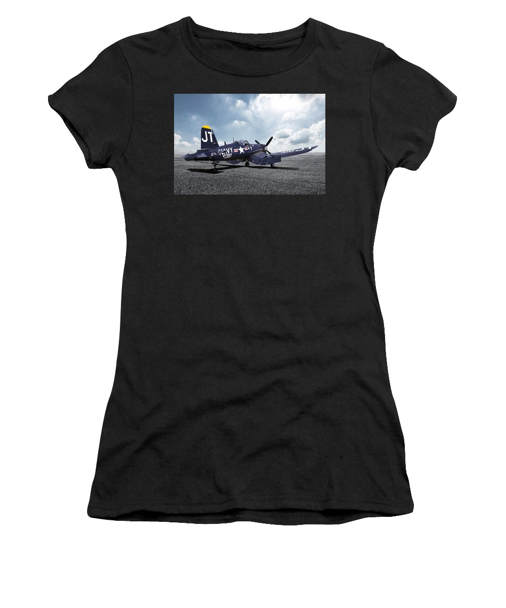 Korean War Hero Women's T-Shirt (Athletic Fit) featuring the digital art Korean War Hero F4-u Corsair by Peter Chilelli