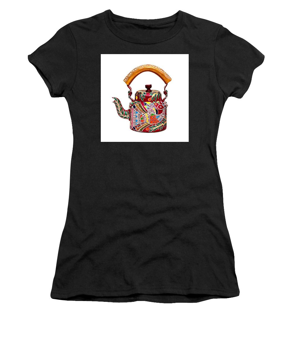 Peacock Women's T-Shirt (Athletic Fit) featuring the painting Ktl-#2 by Anamika Thakur