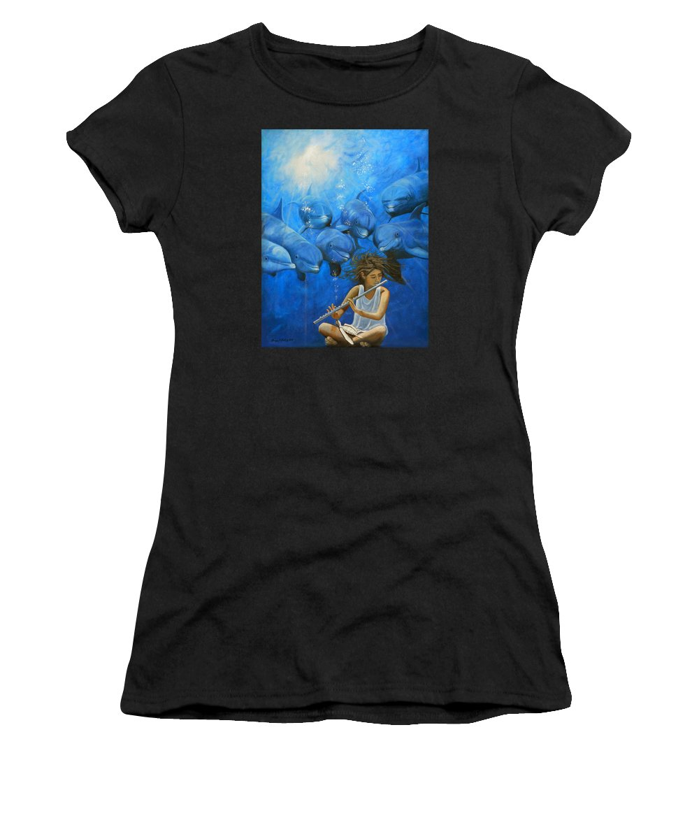 Flautista Women's T-Shirt (Athletic Fit) featuring the painting La Flautista by Angel Ortiz