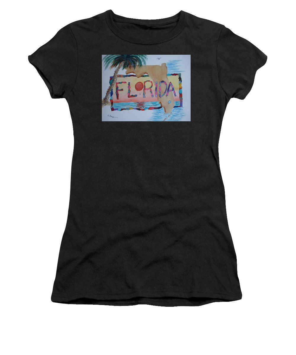 Sunset Women's T-Shirt featuring the painting La Florida Flowered Land by Warren Thompson