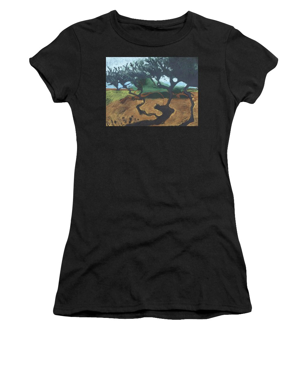 Contemporary Tree Landscape Women's T-Shirt featuring the drawing La Jolla I by Leah Tomaino