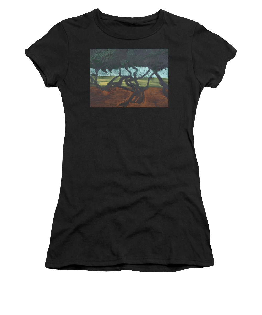 Contemporary Tree Landscape Women's T-Shirt featuring the mixed media La Jolla II by Leah Tomaino