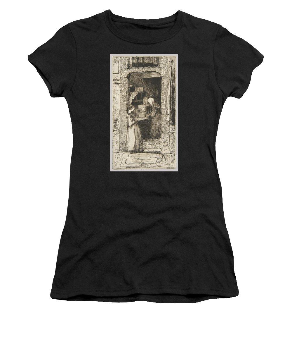 La Marchande De Moutarde Women's T-Shirt featuring the painting La Marchande De Moutarde by MotionAge Designs