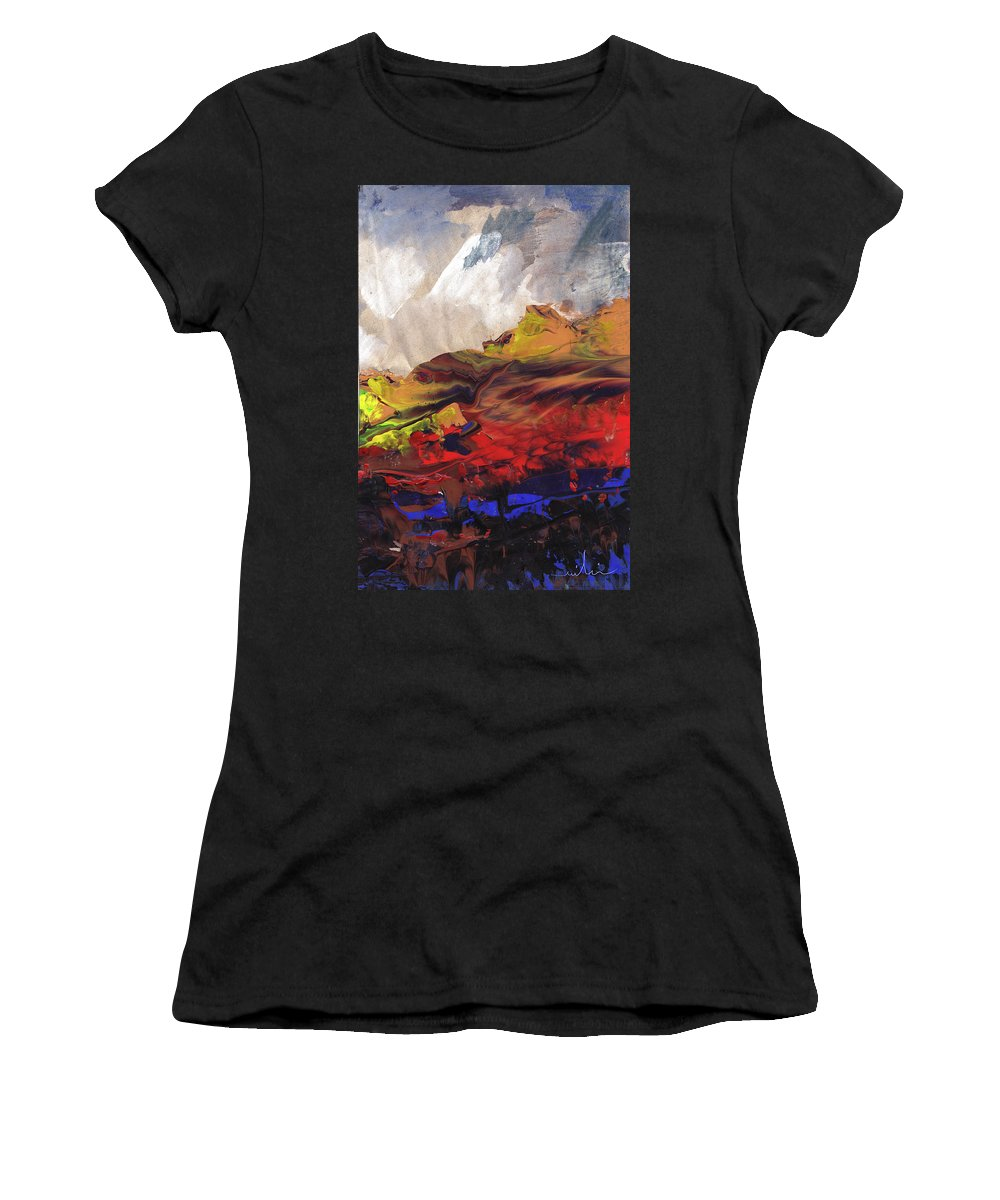 Landscapes Women's T-Shirt (Athletic Fit) featuring the painting La Mer Rouge by Miki De Goodaboom