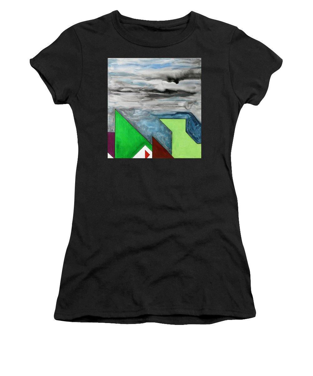 Abstract Women's T-Shirt (Athletic Fit) featuring the painting La Notte Sopra La Citta Verde - Part II by Willy Wiedmann