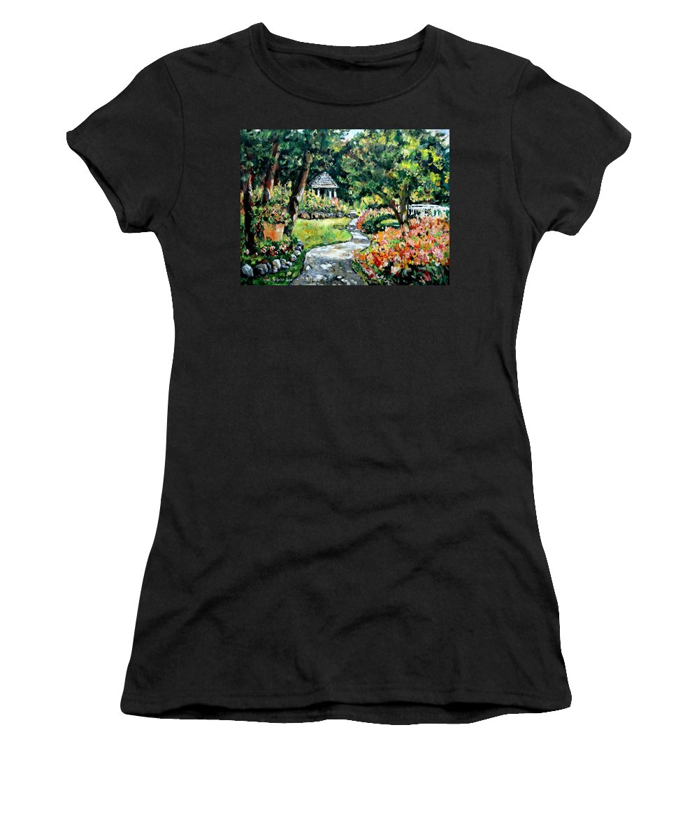 Landscape Women's T-Shirt (Athletic Fit) featuring the painting La Paloma Gardens by Alexandra Maria Ethlyn Cheshire