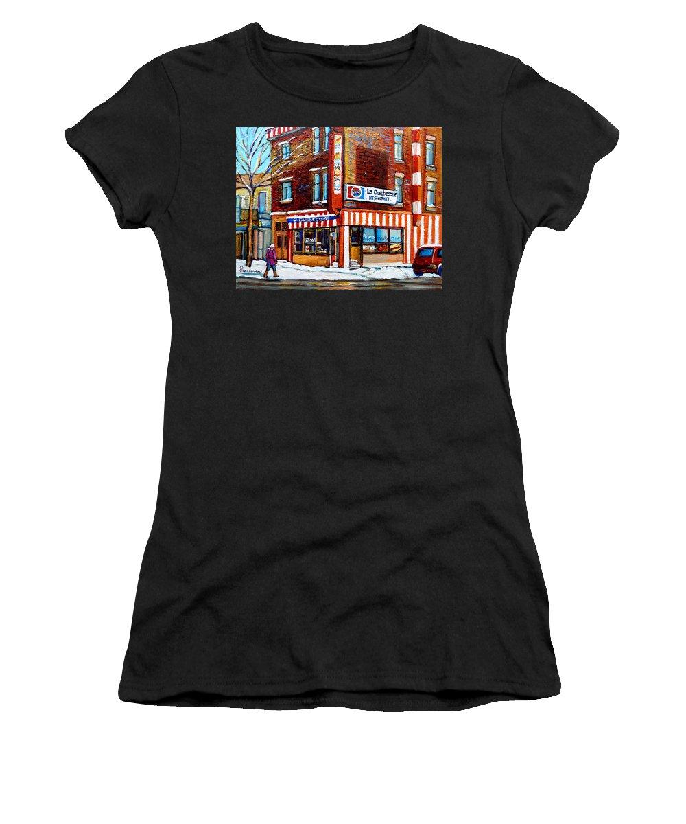 La Quebecoise Restaurant Women's T-Shirt (Athletic Fit) featuring the painting La Quebecoise Restaurant Montreal by Carole Spandau