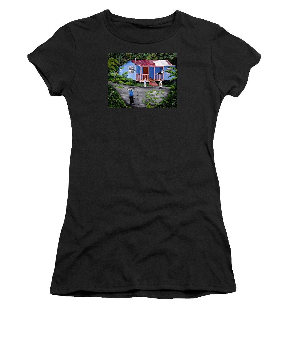 Campo Women's T-Shirt (Athletic Fit) featuring the painting La Vida En Las Montanas De Moca by Luis F Rodriguez
