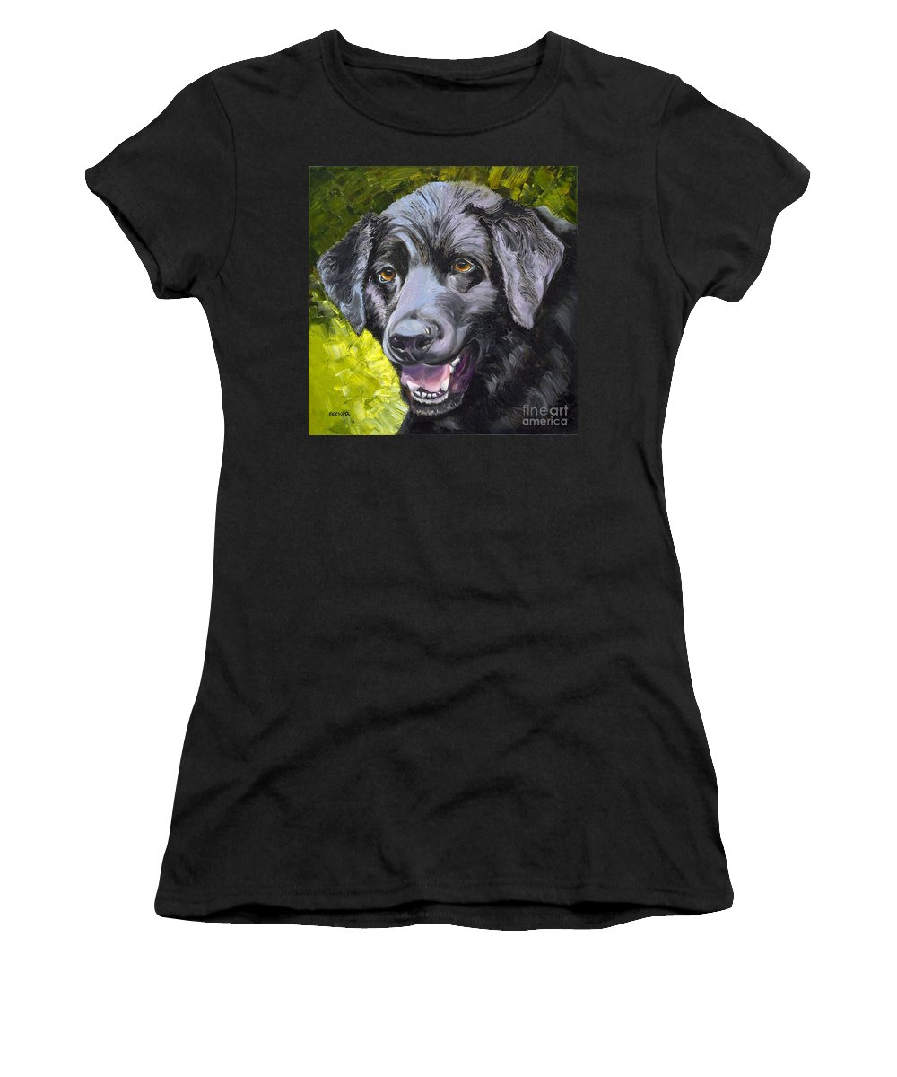 Labrador Retriever Women's T-Shirt featuring the painting Lab Out Of The Pond by Susan A Becker