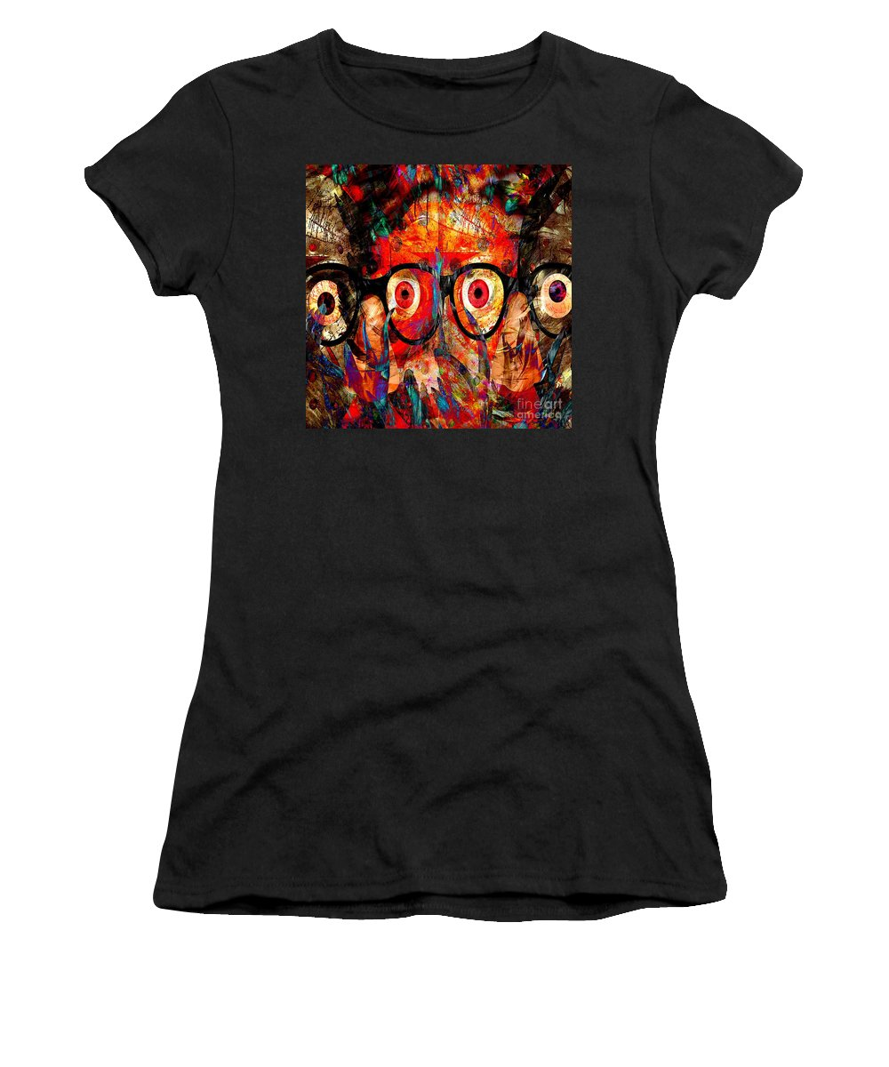 Fania Simon Women's T-Shirt (Athletic Fit) featuring the mixed media Label The Brain Through The Eyes - Lords Of Madness by Fania Simon