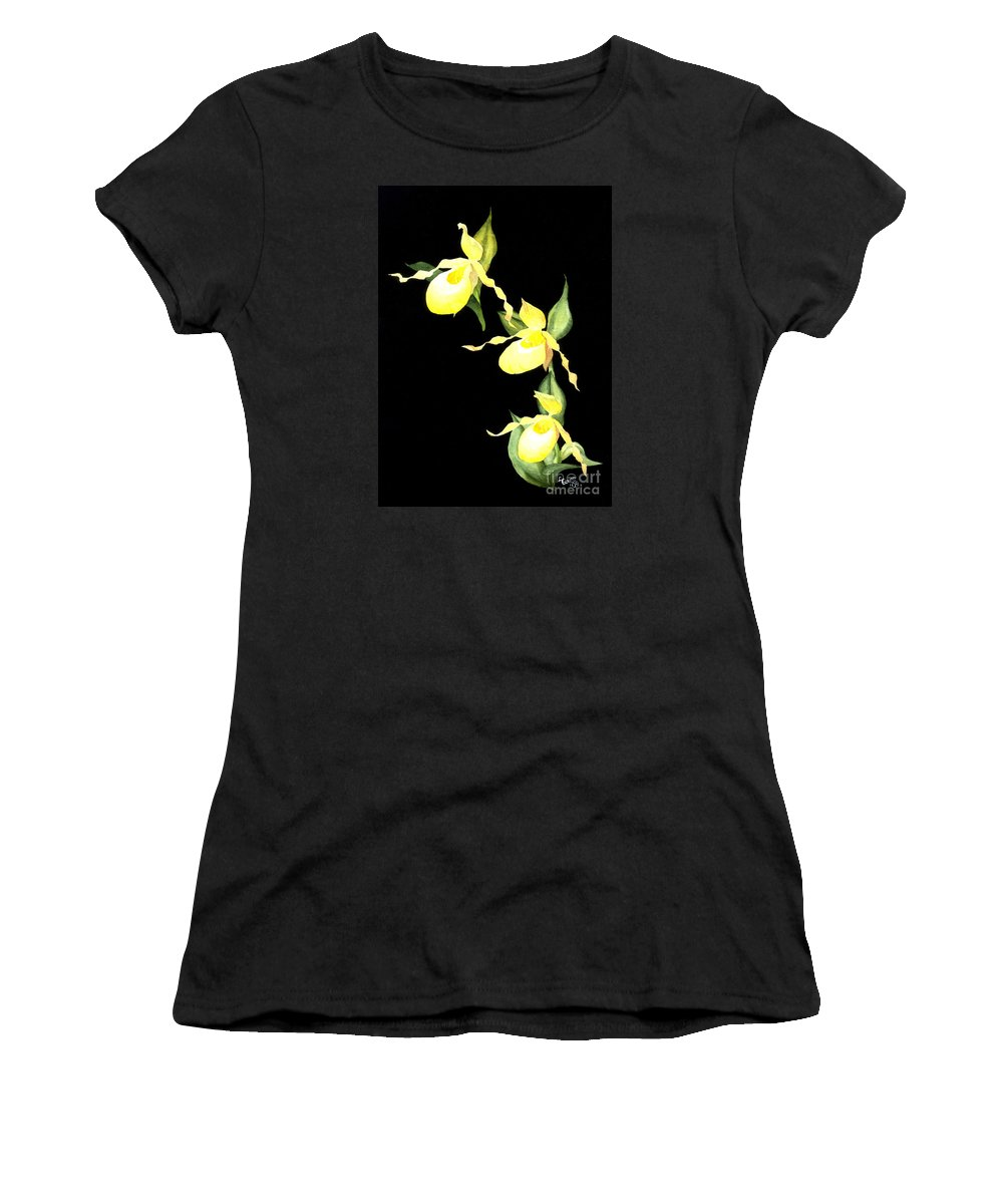 Yellow Lady S Slipper Women's T-Shirt (Athletic Fit) featuring the painting Ladies Trio by Lynn Quinn