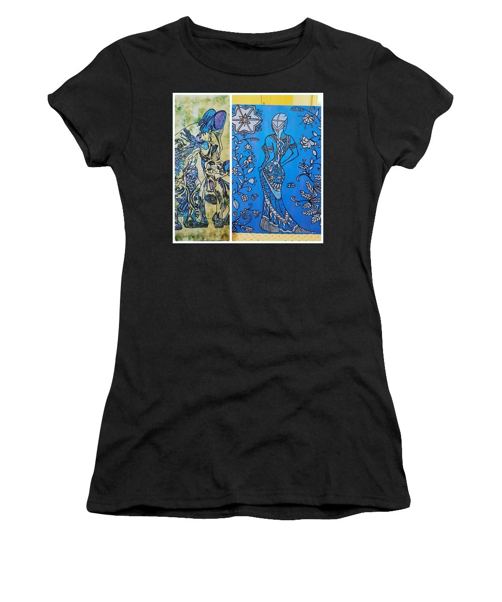 Women's T-Shirt (Athletic Fit) featuring the drawing Lady N Neox Cat by Meghna Patel