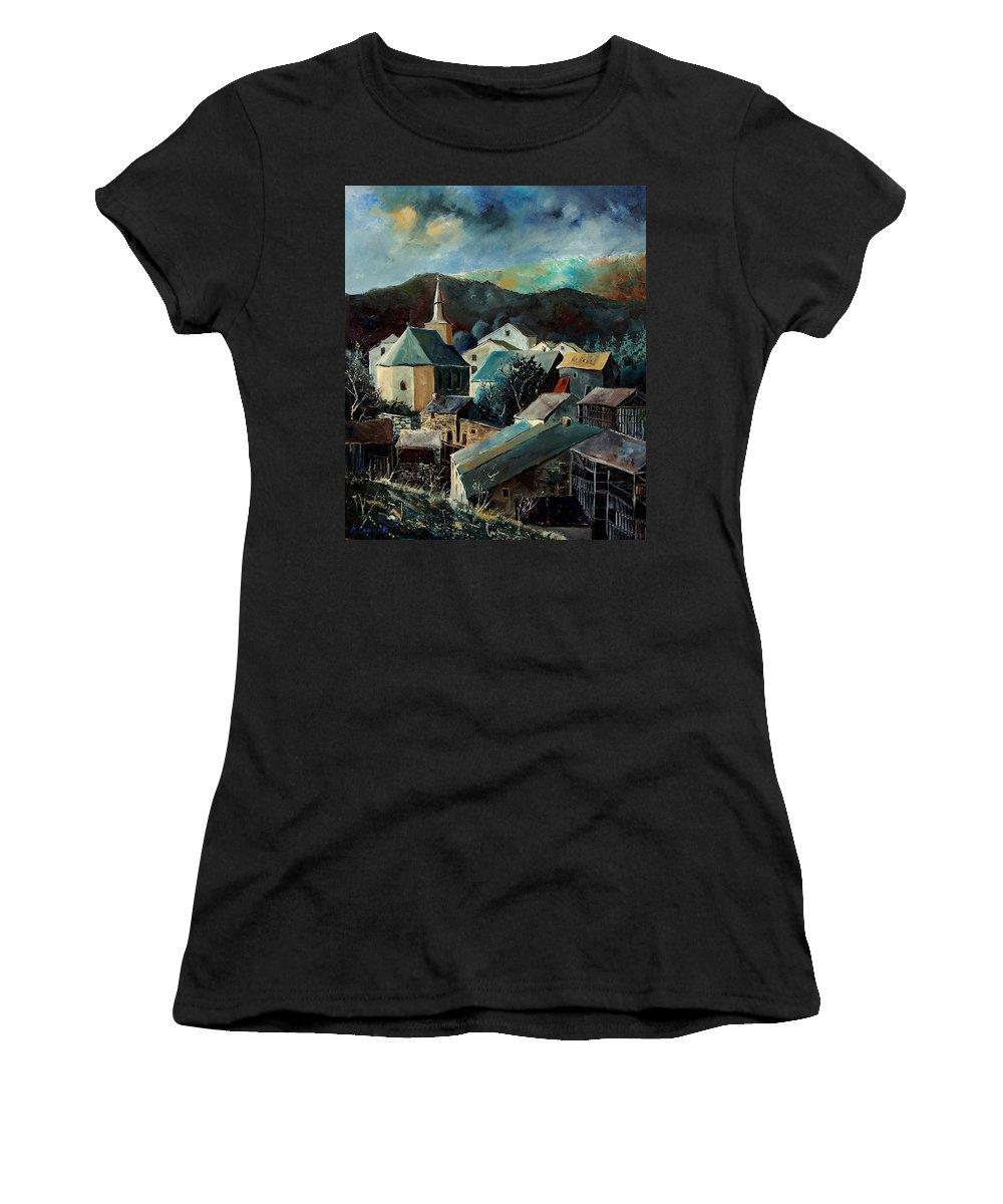 Landscape Women's T-Shirt featuring the painting Laforet Village by Pol Ledent