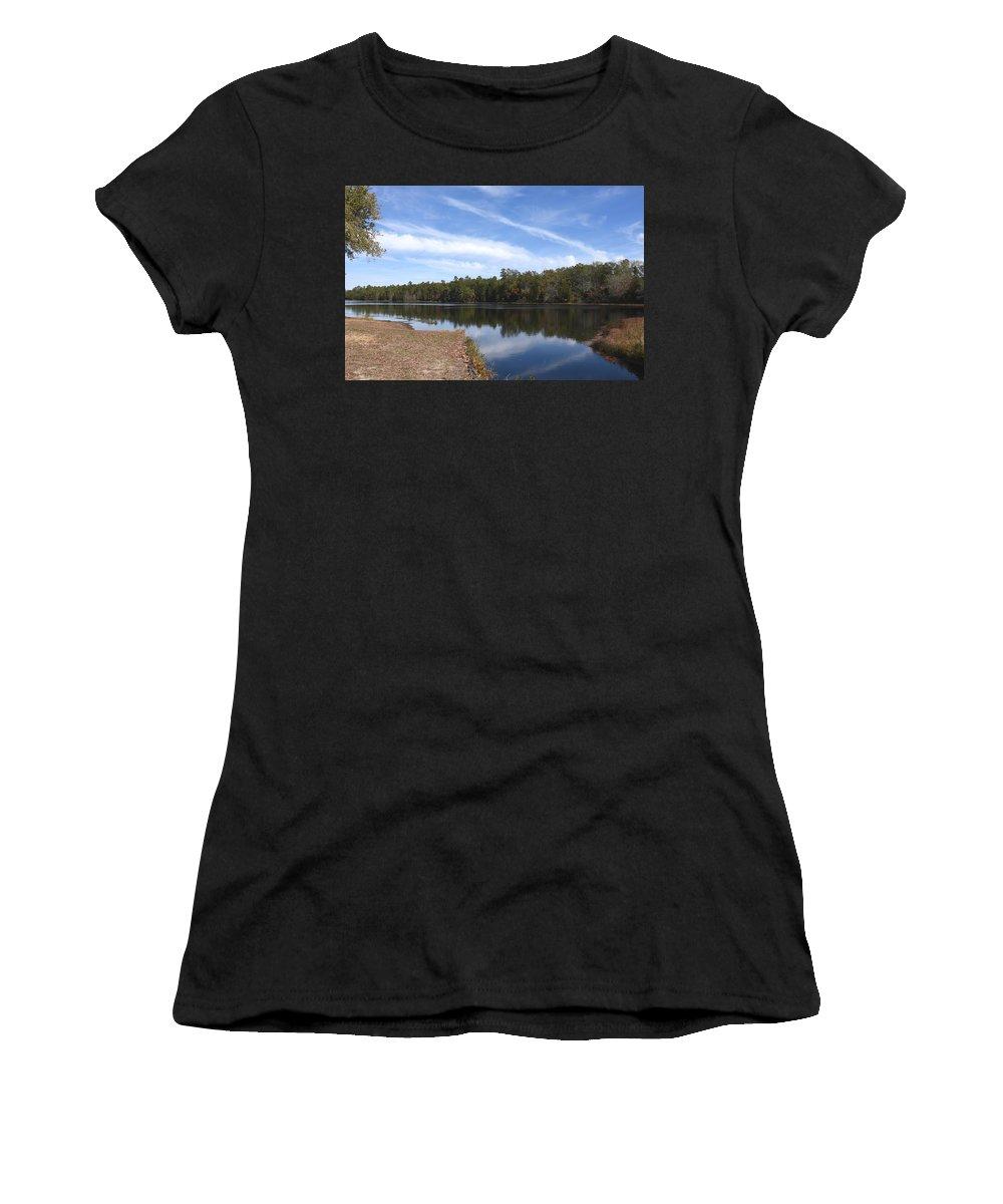 Batsto Lake Women's T-Shirt featuring the photograph Lake 399 by Joyce StJames