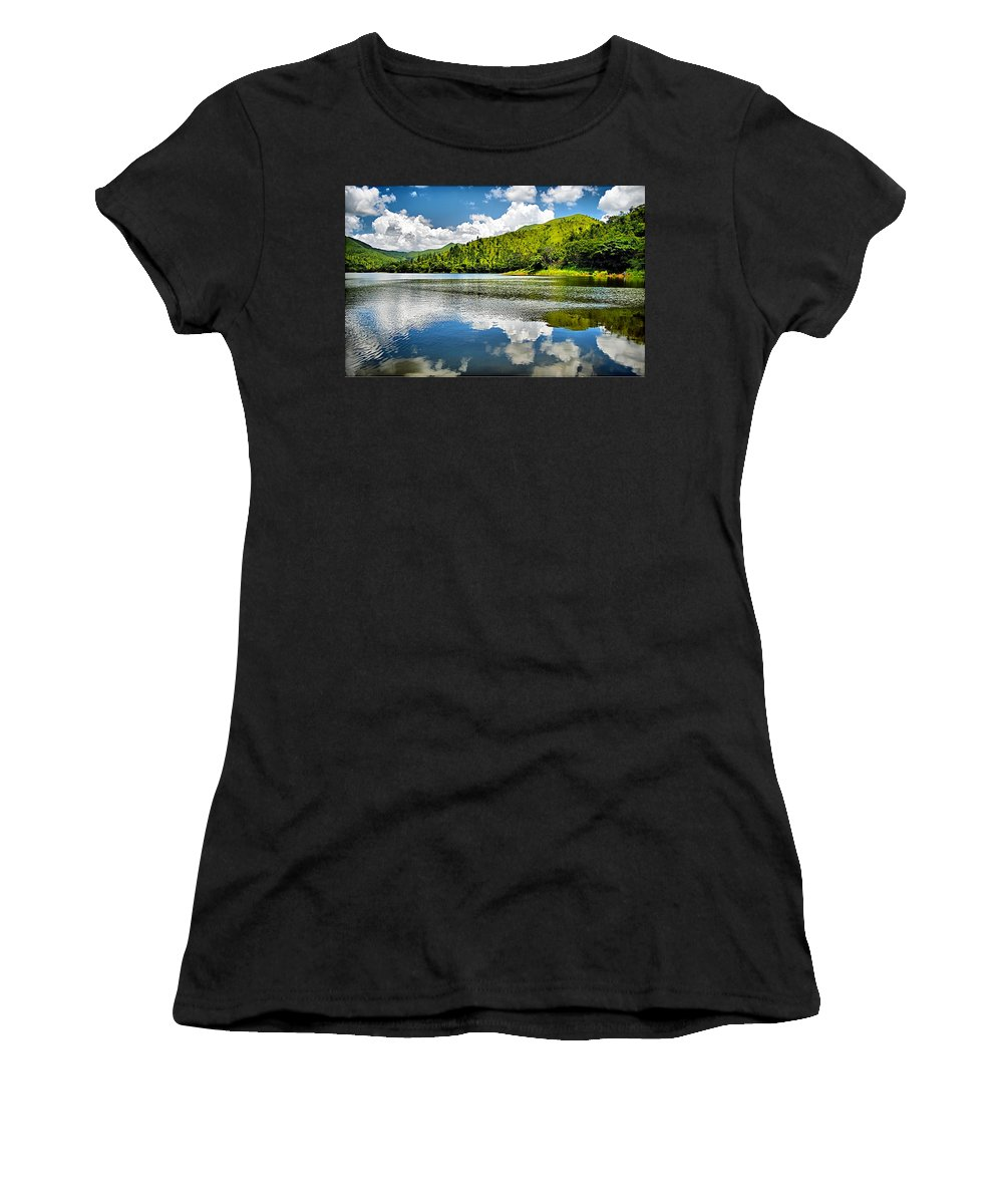 Lake Women's T-Shirt (Athletic Fit) featuring the photograph Lake Agua Blanca by Galeria Trompiz