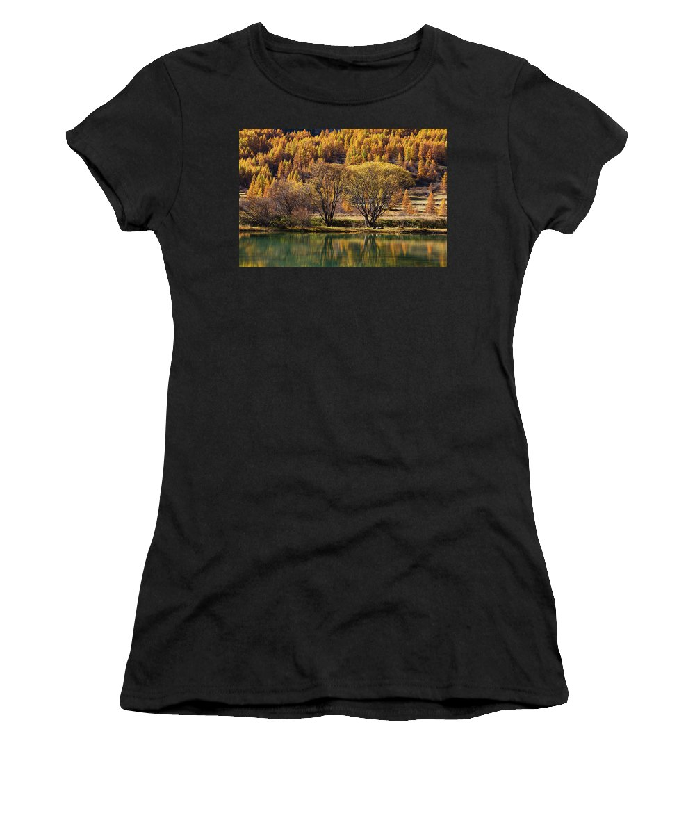 Lake Women's T-Shirt featuring the photograph Lake In Autumn - 3 - French Alps by Paul MAURICE