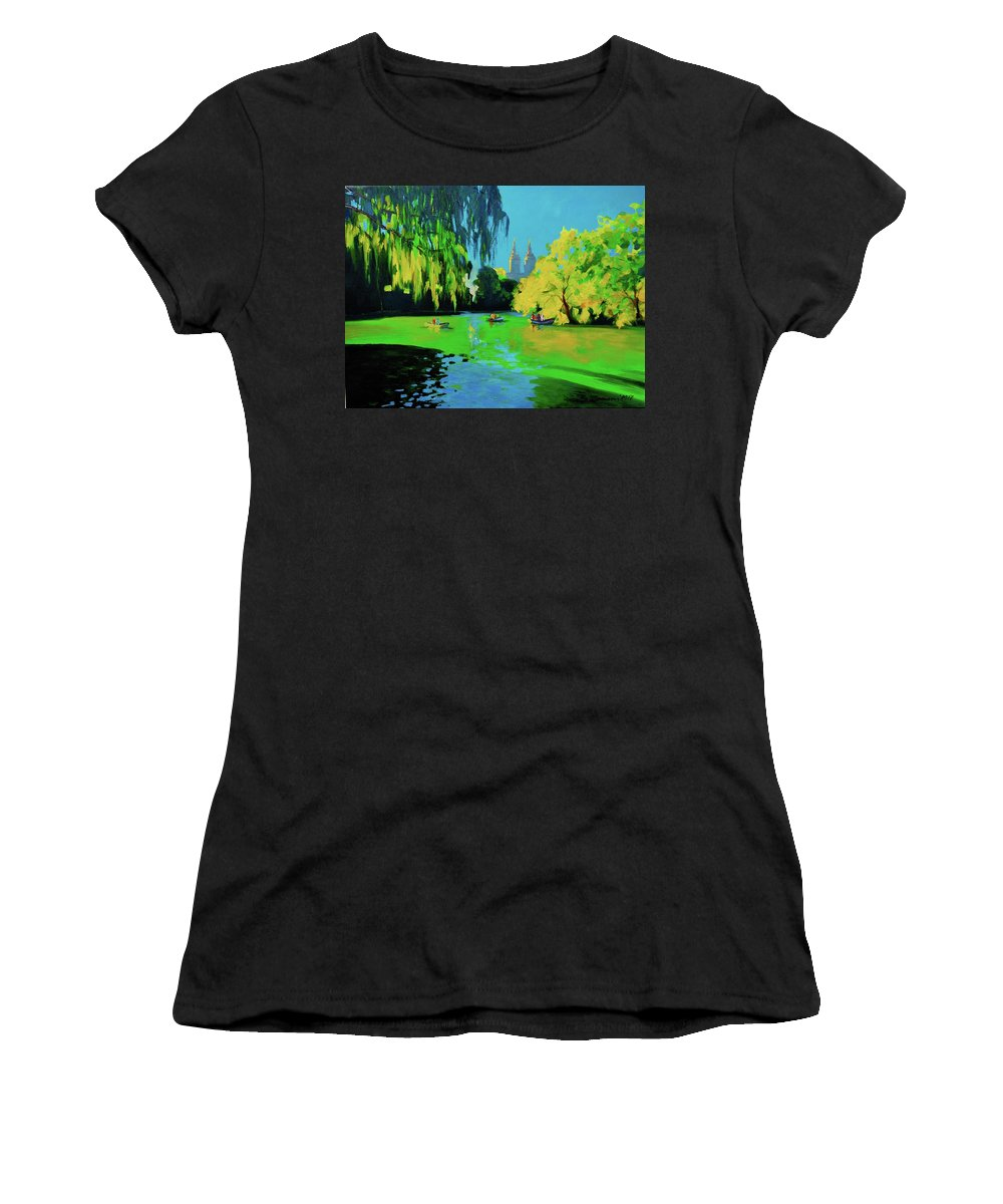 Lake In Central Park Women's T-Shirt (Athletic Fit) featuring the painting Lake In Central Park Ny by Eduard Zenuni