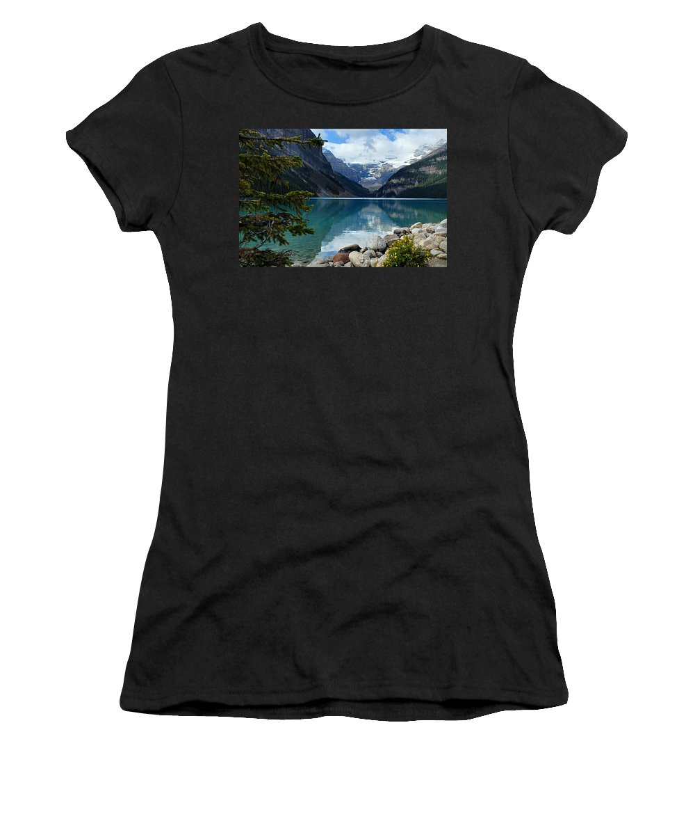 Lake Louise Women's T-Shirt (Athletic Fit) featuring the photograph Lake Louise 2 by Larry Ricker