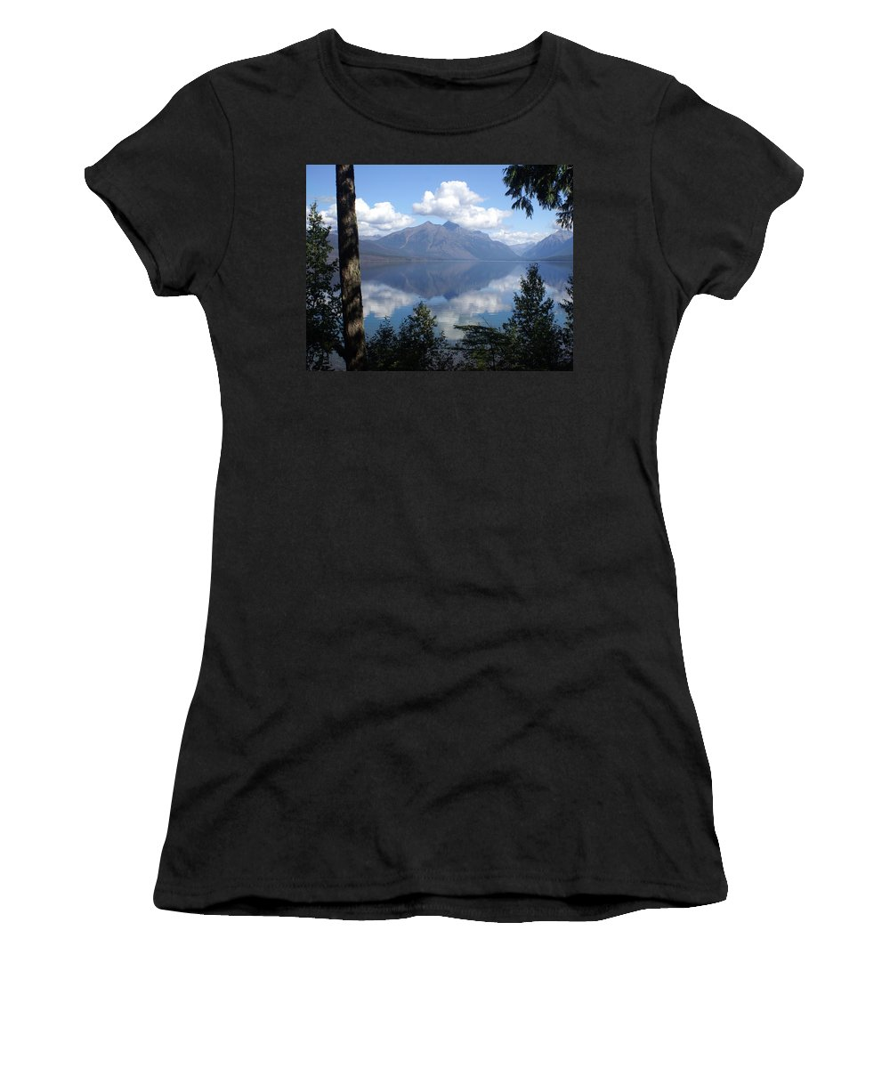 Lake Women's T-Shirt (Athletic Fit) featuring the photograph Lake Mcdonald Glacier National Park by Marty Koch