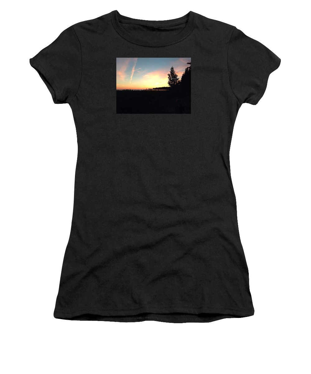 Sunset Women's T-Shirt (Athletic Fit) featuring the photograph Lake Michigan At Dusk by Kendall Tabor
