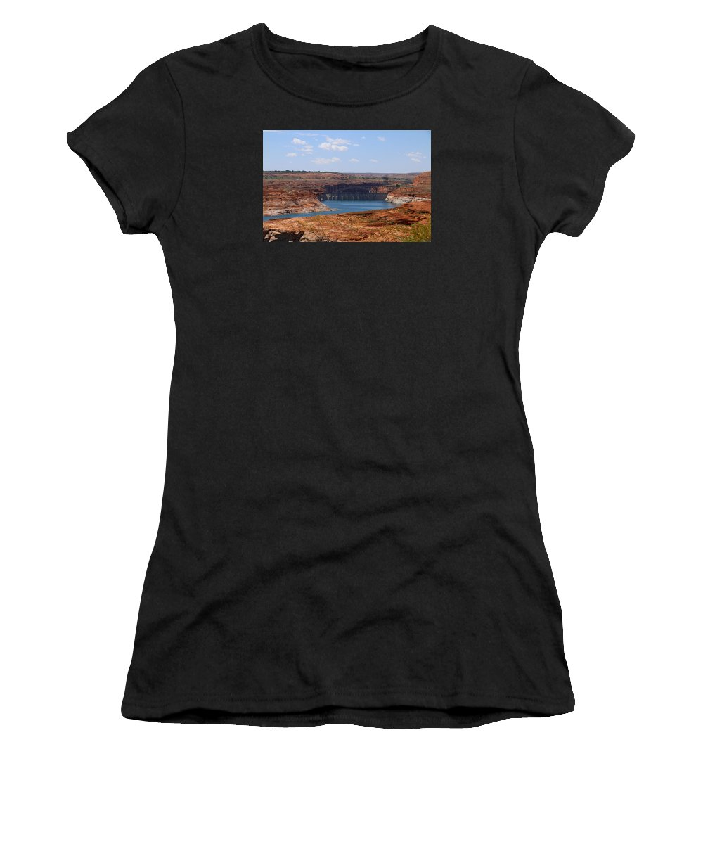 Lake Women's T-Shirt (Athletic Fit) featuring the photograph Lake Powell And Glen Canyon Dam by Christiane Schulze Art And Photography
