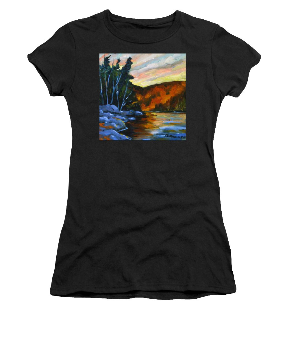 Art Women's T-Shirt featuring the painting Lake Reflections by Richard T Pranke