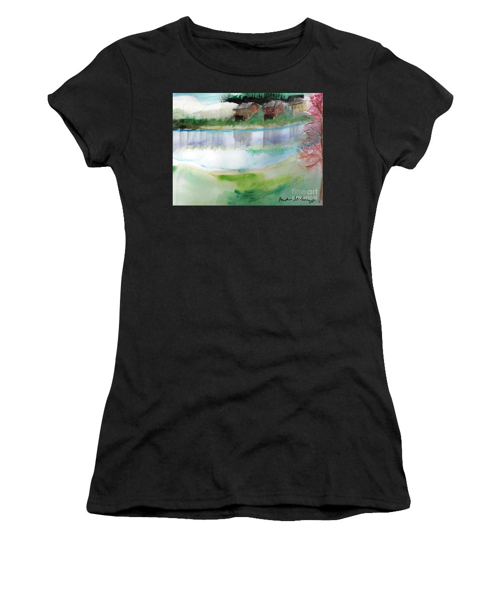 Watercolor Painting Summer Lake Water Houses Blue Green Women's T-Shirt featuring the painting Lake Scene by Andra Miliacca