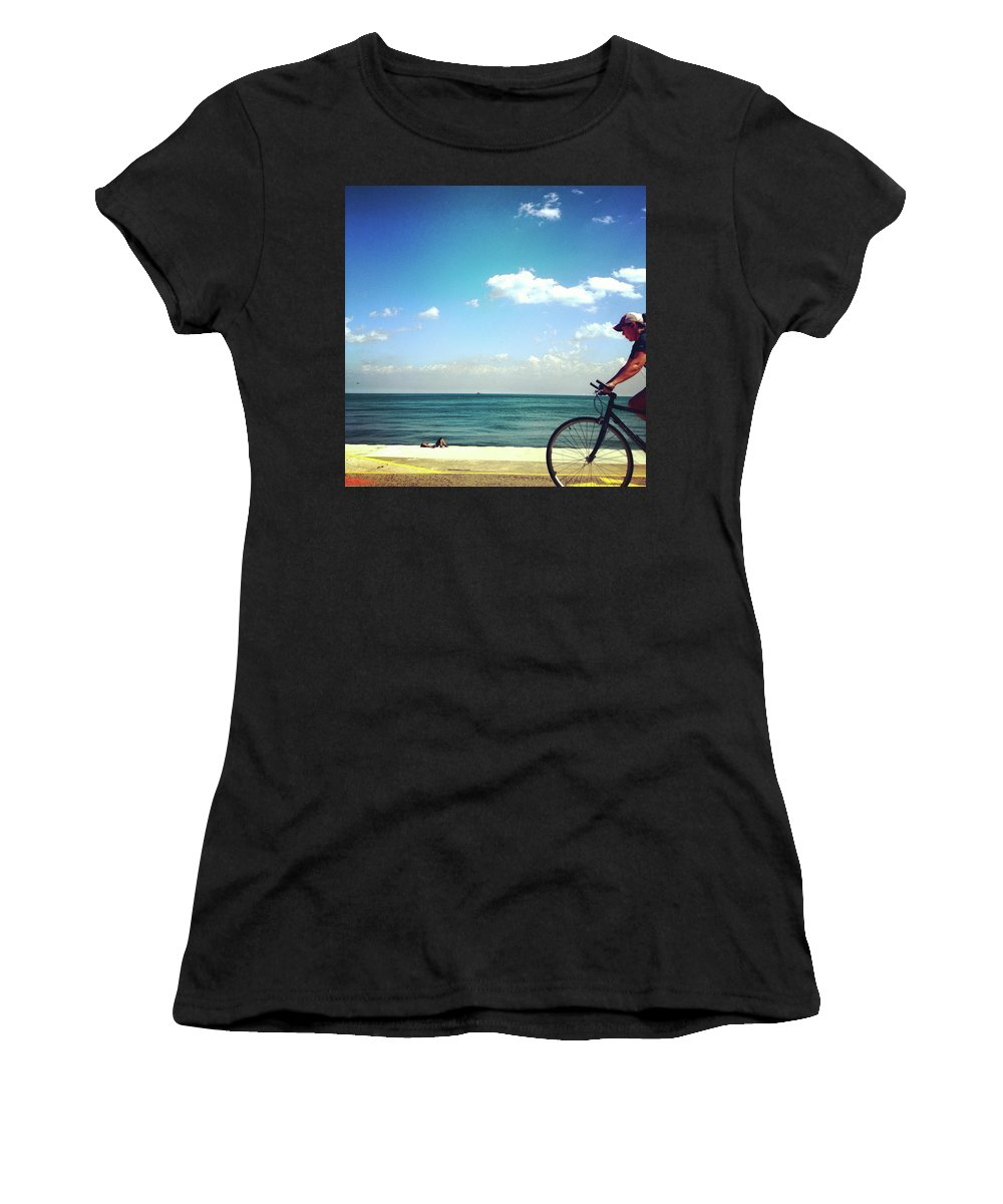 Lake Shore Women's T-Shirt (Athletic Fit) featuring the photograph Lake Shore Bike, Blue Sky Water Horizon, Chicago by Patrick Malon