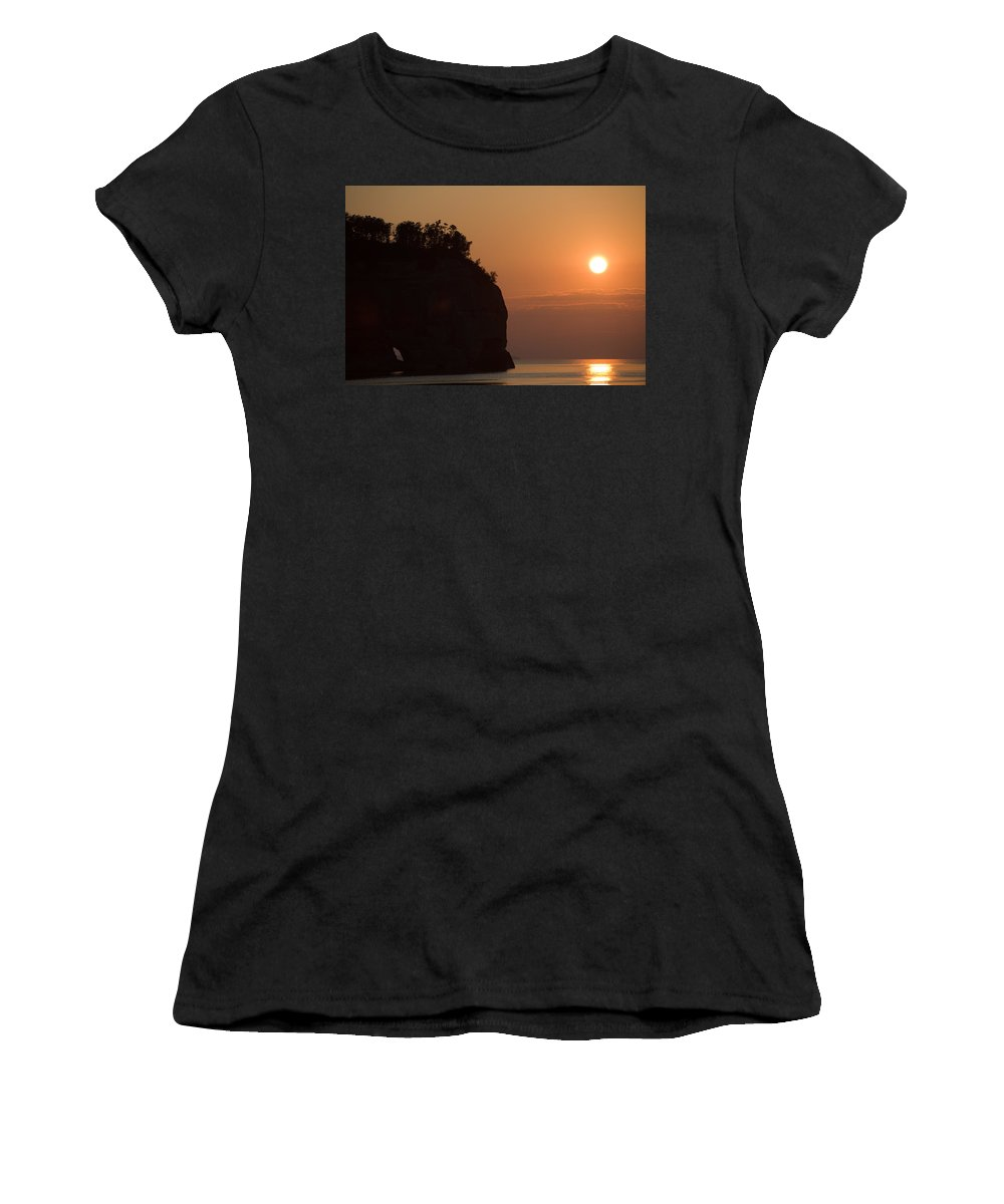 Lake Women's T-Shirt featuring the photograph Lake Superior Sunset by Sebastian Musial