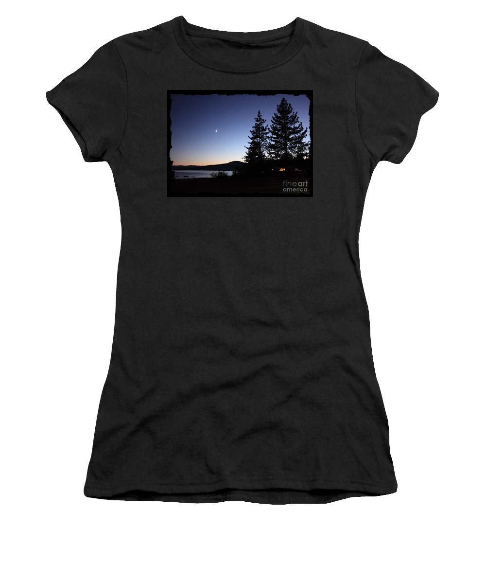 Lake Tahoe Sunset Women's T-Shirt (Athletic Fit) featuring the photograph Lake Tahoe Sunset With Trees And Black Framing by Carol Groenen