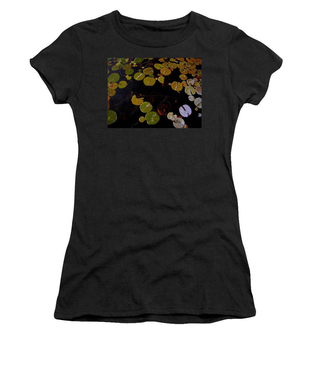 Water Women's T-Shirt (Athletic Fit) featuring the painting Lake Washington Lilypad 8 by Thu Nguyen