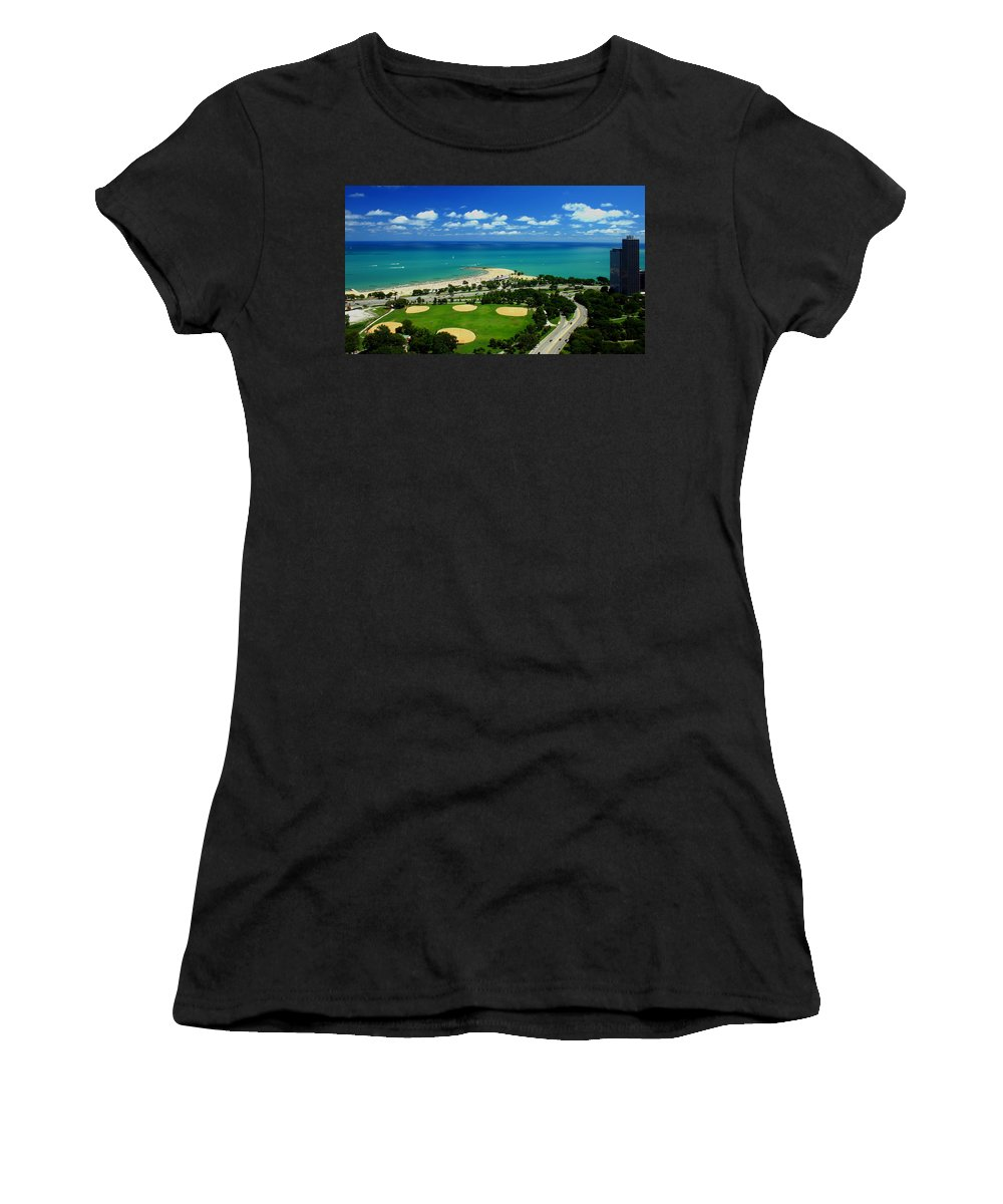 Aerial Women's T-Shirt (Athletic Fit) featuring the photograph Lakefront Beach Park Baseball Fields by Patrick Malon