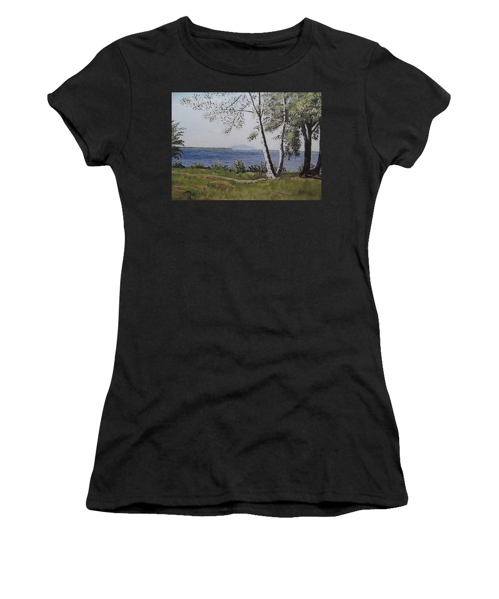 Lake Women's T-Shirt (Athletic Fit) featuring the painting Lakeview Landing by Stella Sherman