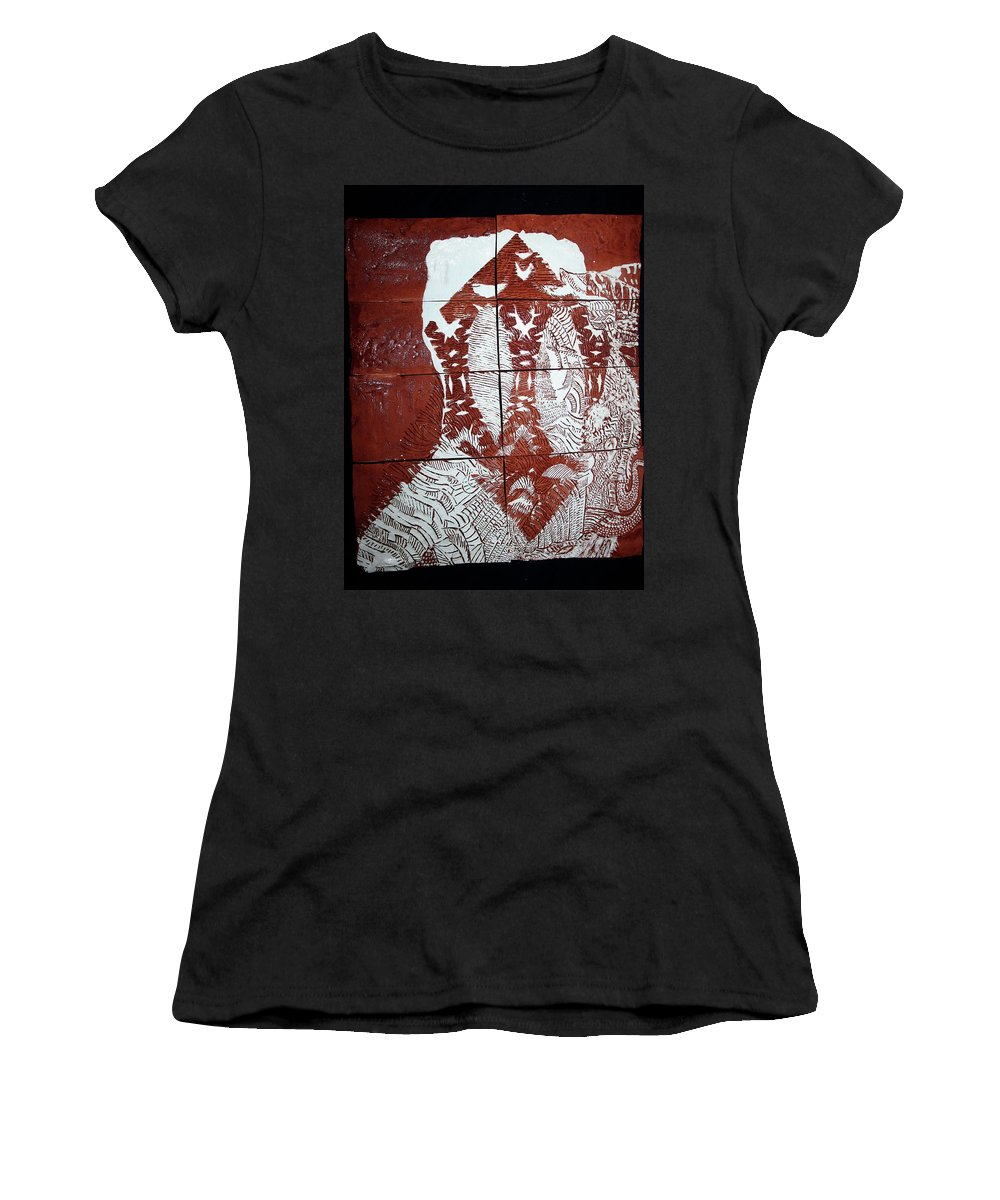 Mama Africa Twojesus Women's T-Shirt (Athletic Fit) featuring the ceramic art Lamb Of God by Gloria Ssali