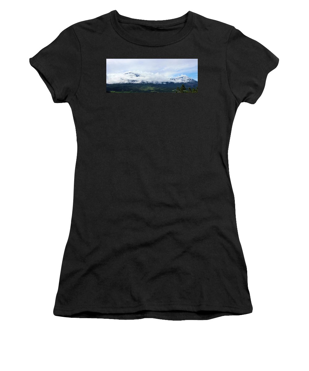 Mountains Women's T-Shirt (Athletic Fit) featuring the photograph Lamborn Pano by Samantha Burrow