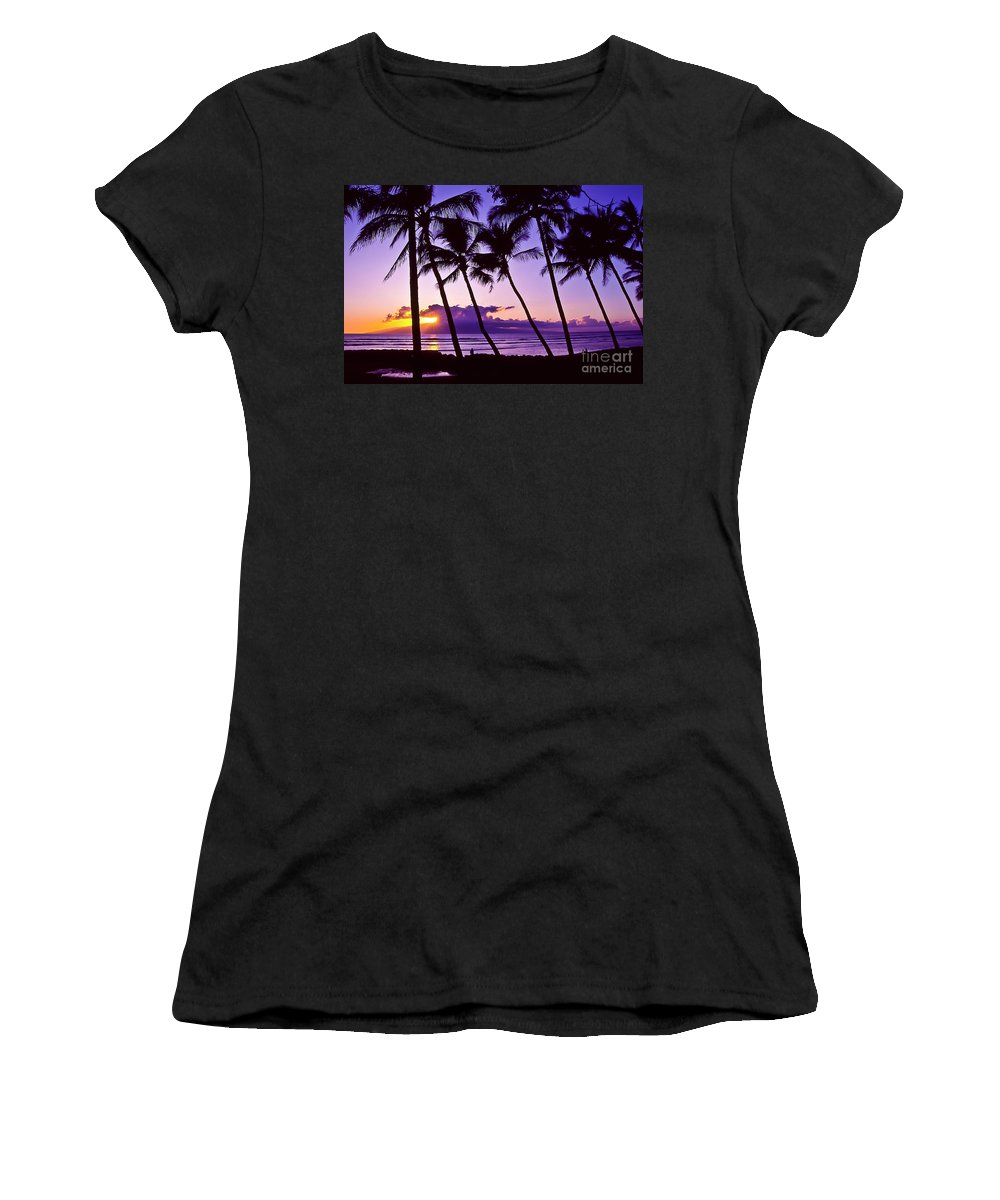 Landscapes Women's T-Shirt (Athletic Fit) featuring the photograph Lanai Sunset by Jim Cazel