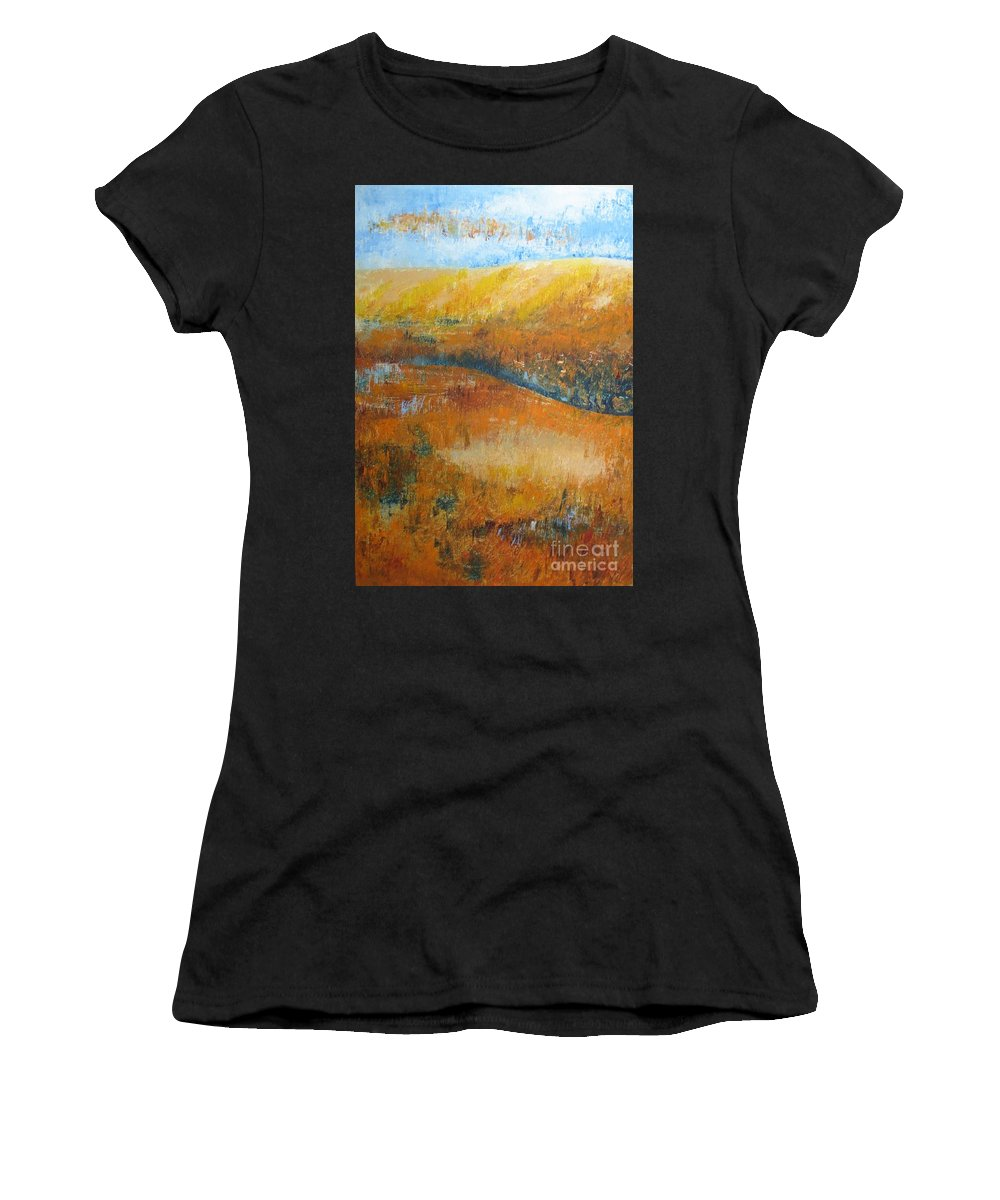 Landscape Women's T-Shirt featuring the painting Land Of Richness by Stella Velka