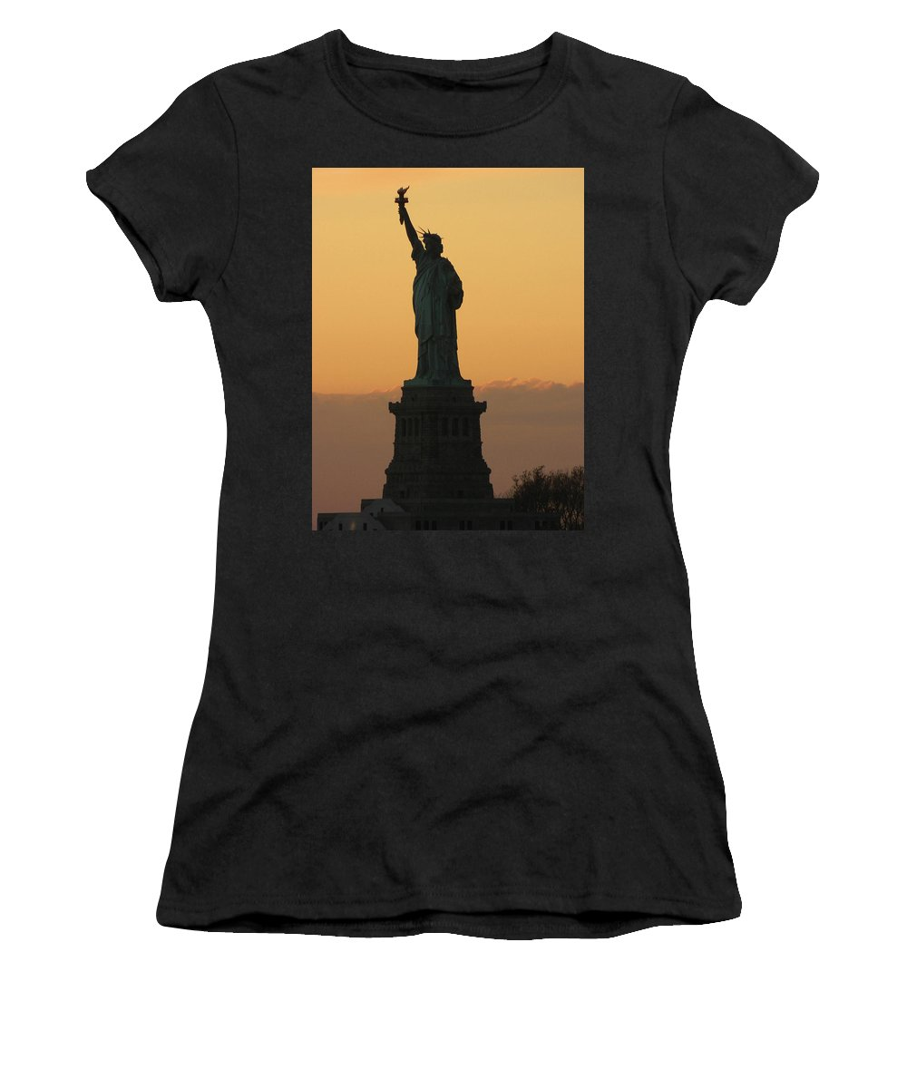Statue Of Liberty Women's T-Shirt (Athletic Fit) featuring the photograph Land Of The Free And The Brave by Emmy Vickers