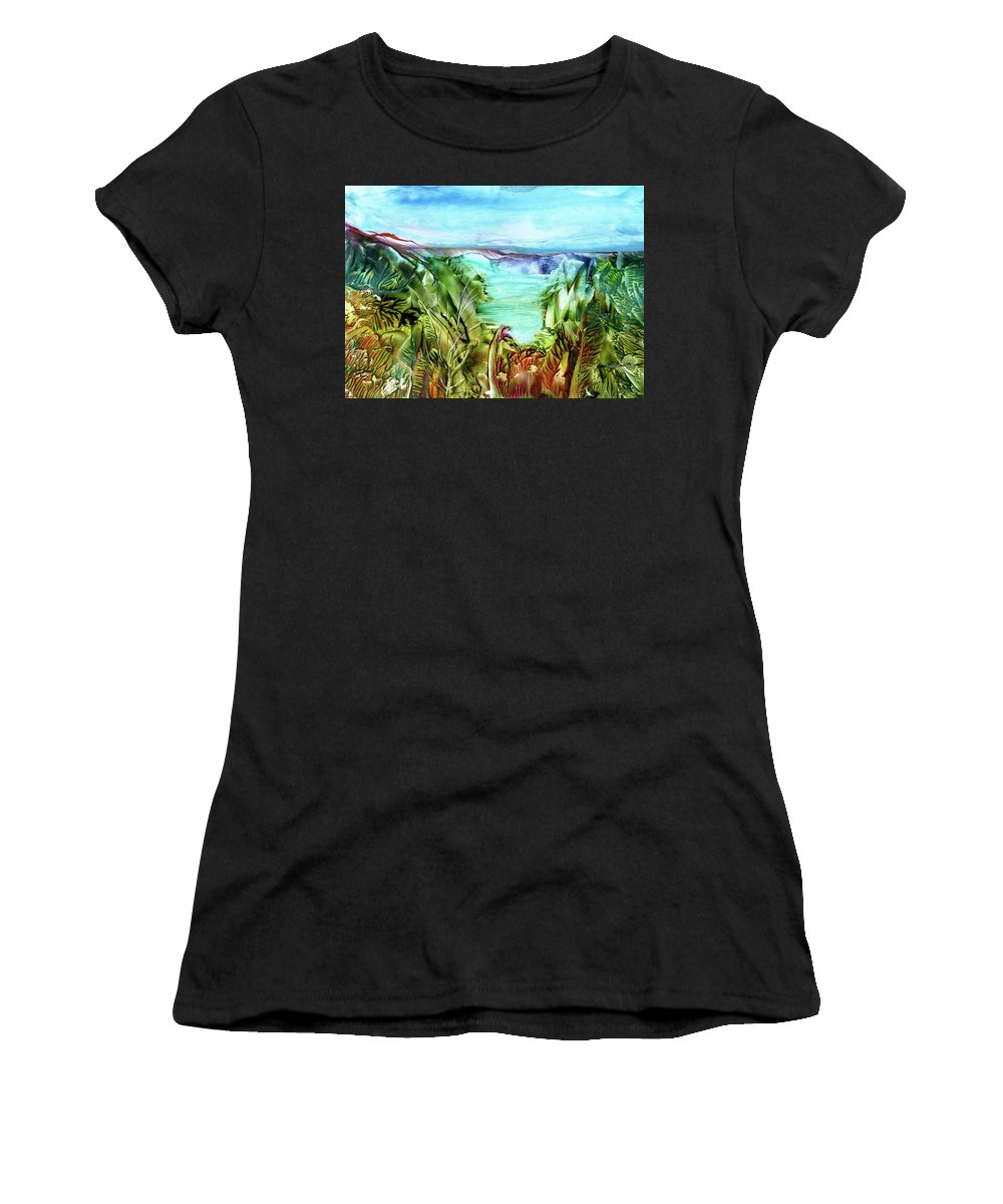 Sea Women's T-Shirt (Athletic Fit) featuring the painting Land Sea And Sky by Angelina Whittaker Cook