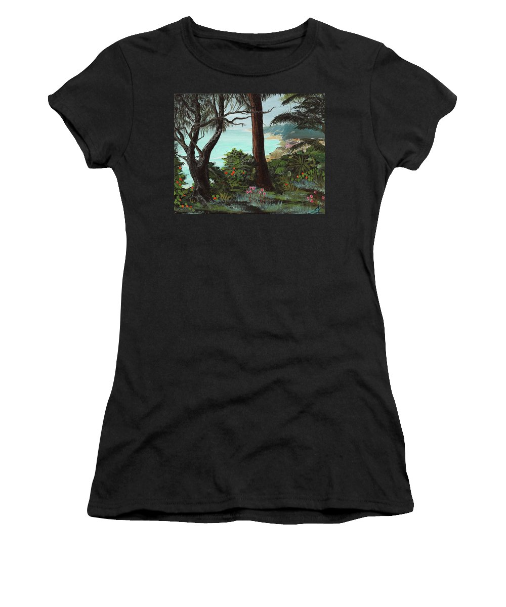San Francisco Women's T-Shirt featuring the painting Land's End by April Zaidi