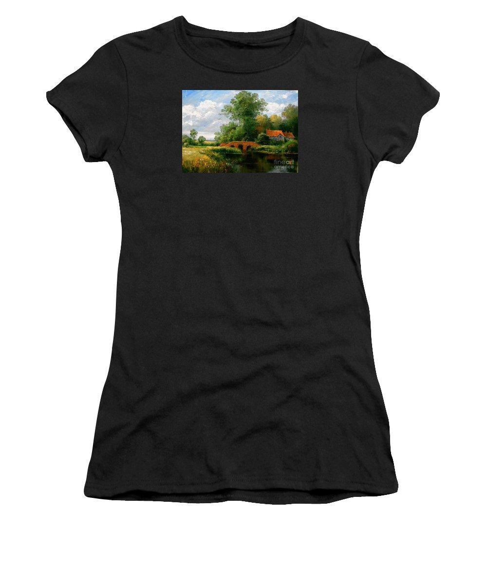 Landscape Women's T-Shirt featuring the painting Landscape by Arthur Braginsky