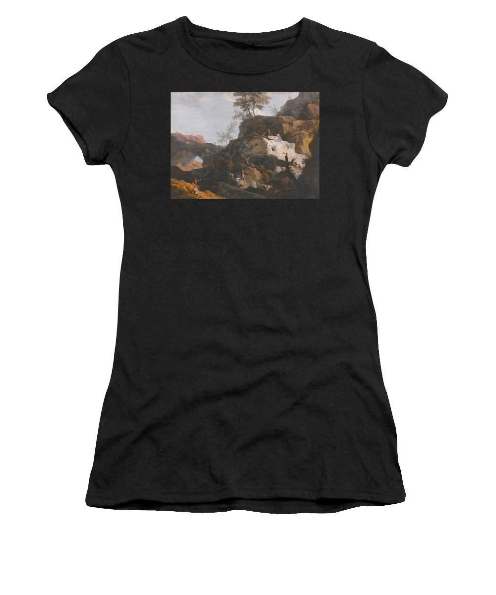 Marco Ricci  1676 - 1730  A Rocky Landscape With Stone Masons Working In A Quarry Women's T-Shirt (Athletic Fit) featuring the painting Landscape by Marco Ricci