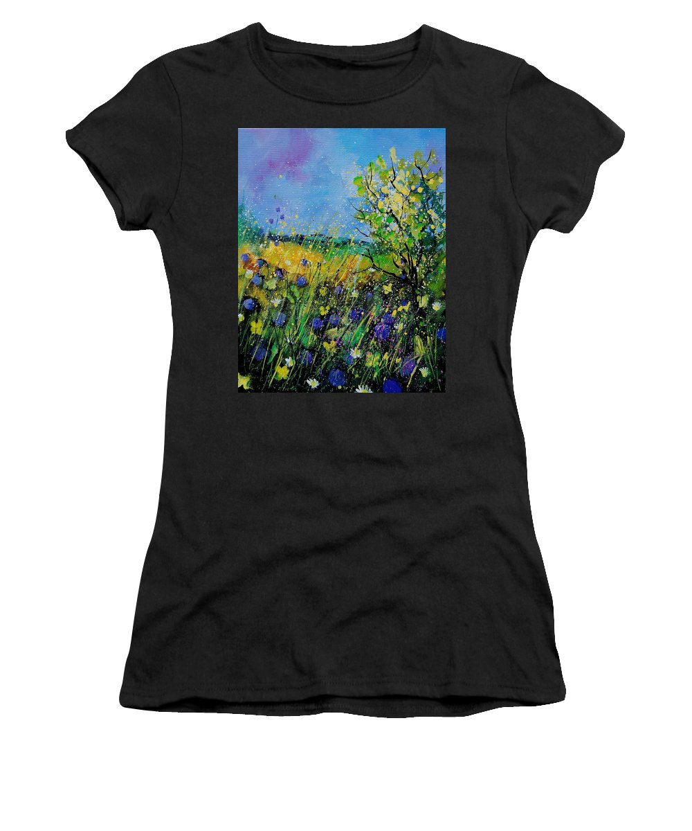 Flowers Women's T-Shirt (Athletic Fit) featuring the painting Landscape With Cornflowers 459060 by Pol Ledent