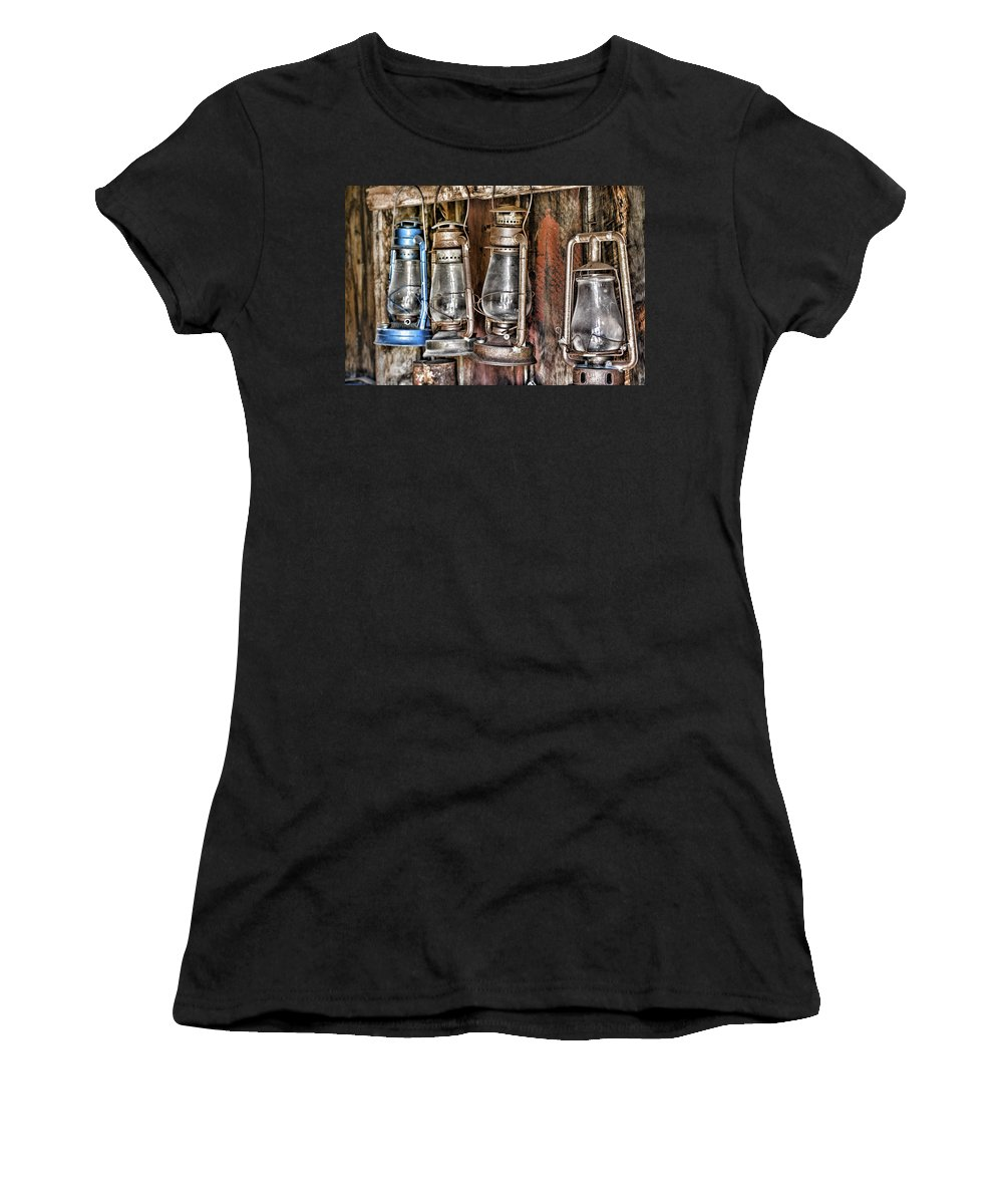 Antique Lanterns Women's T-Shirt (Athletic Fit) featuring the photograph Lanterns by Kelley King