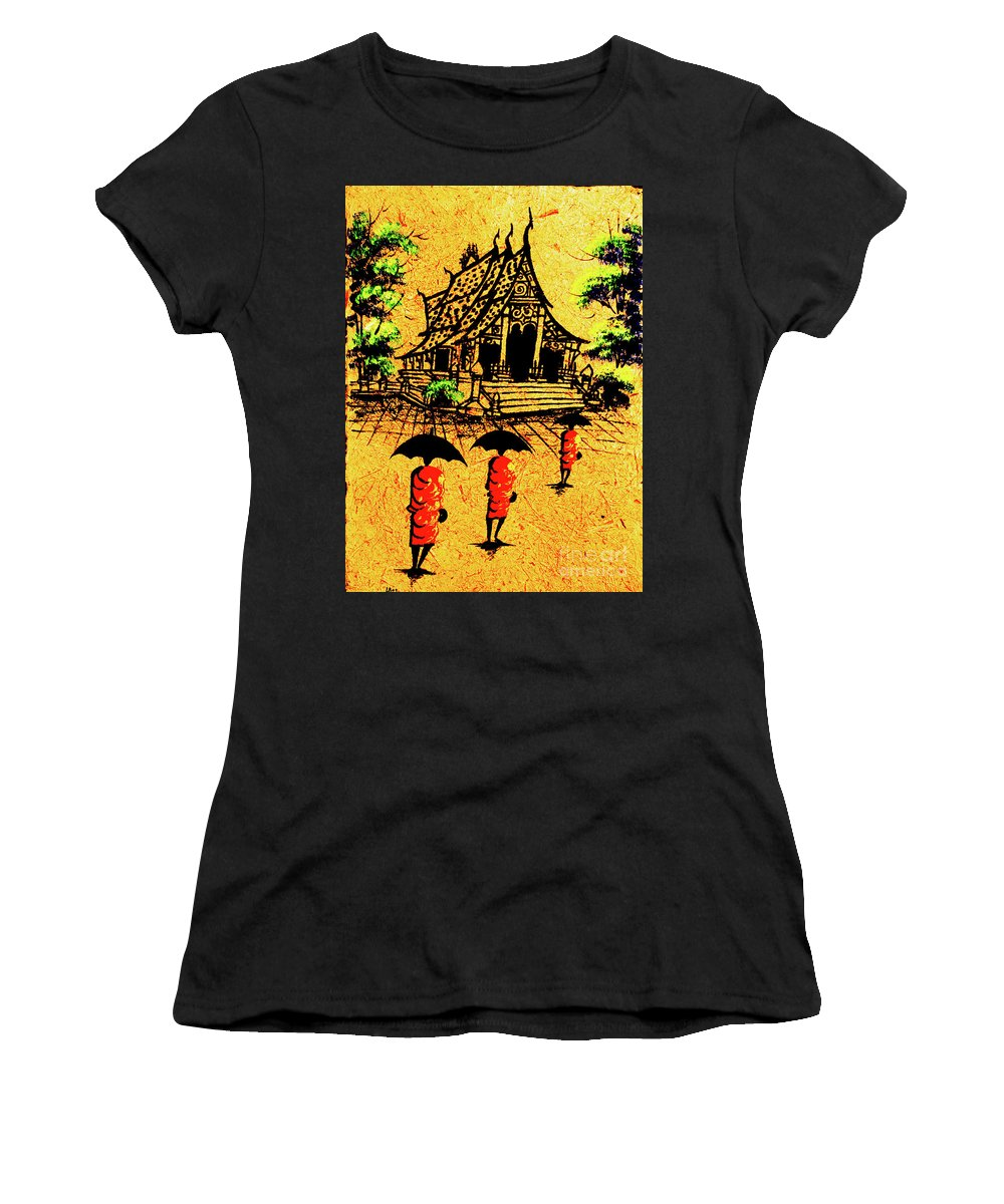 Laos Women's T-Shirt featuring the painting Procession To Temple, Lao Collection by Jeffery Waz