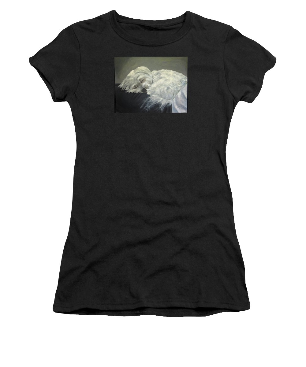 Maltese Dogs Women's T-Shirt (Athletic Fit) featuring the painting Lap Dog by Elizabeth Ellis