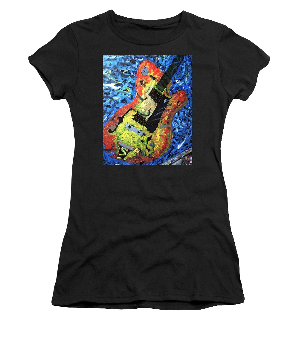Larry Carlton Women's T-Shirt (Athletic Fit) featuring the painting Larry Carlton Guitar by Neal Barbosa
